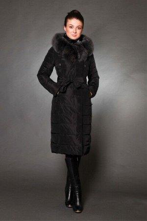 Куртка женская зимняя 1719 черный натуральный мех