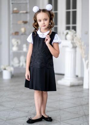 Сарафан школьный Шейли, цвет черный. РАСПРОДАЖА