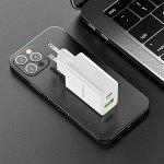 Сетевое Зарядное устройство BOROFONE BA56A Lavida USB+Type-C, белый