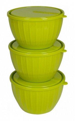 Набор салатников Bono 0,6 л с крышками (3 шт.) оливковая роща