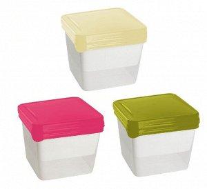 Комплект емкостей для хранения и заморозки продуктов Браво квадратных 0,75 л (3шт.) микс