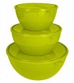 Набор салатников Bono 5 л + 2,8 л + 1,7 л с крышками оливковая роща