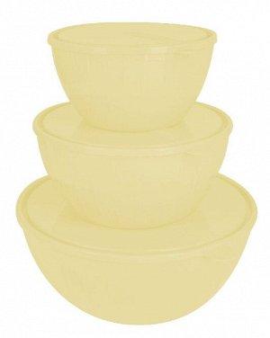 Набор салатников Bono 5 л + 2,8 л + 1,7 л с крышками сливочный крем