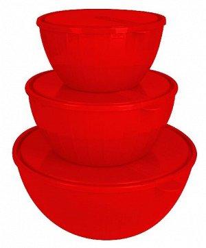 Набор салатников Bono 5 л + 2,8 л + 1,7 л с крышками сочный томат