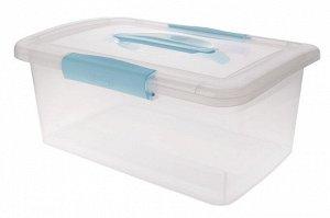Ящик для хранения Laconic с защелками и ручкой 9 л небесный прозрачный