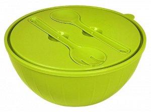 Салатник Bono 5 л с крышкой и приборами оливковая роща