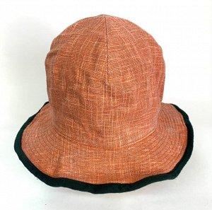 Оранжевая летняя панама с черной каймой  №1349