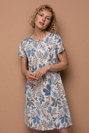 Платье(Осень-Зима)+mom (бежевый, осенний гербарий)