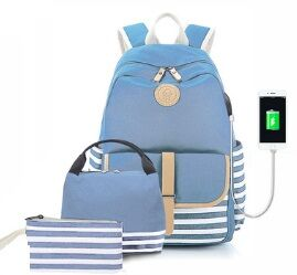 Набор из 3 предметов: рюкзак с USB + сумка для обедов + косметичка