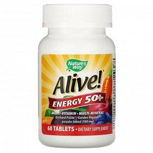 Nature's Way, Alive! Energy 50+, комплекс витаминов и микроэлементов для взрослых старше 50 лет, 60 таблеток