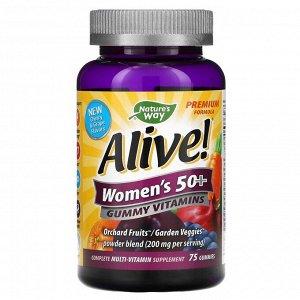 Nature's Way, Alive! жевательные витамины для женщин после 50 лет, со вкусом вишни и винограда, 75 жевательных таблеток