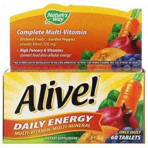 Nature's Way, Alive! комплекс мультивитаминов и мультиминералов для ежедневного пополнения запаса энергии, 60 таблеток