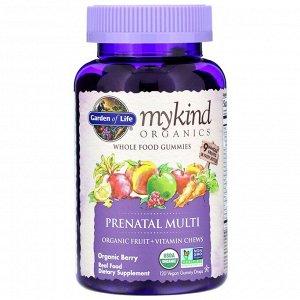 Garden of Life, MyKind Organics, пренатальные мультивитамины, со вкусом ягод, 120 веганских жевательных таблеток