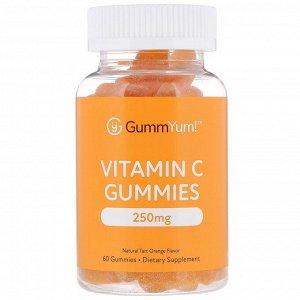 GummYum!, Жевательные таблетки с витаминомC, натуральный апельсиновый ароматизатор, 125мг, 60шт.