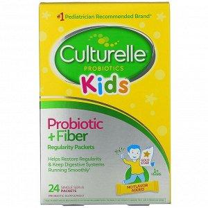 Culturelle, Kids, пробиотик + клетчатка, для нормальной работы кишечника, для детей от 1 года, 24 порционных пакетика