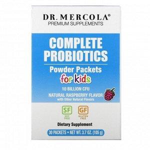 Dr. Mercola, комплекс пробиотиков для детей в виде порошка в пакетиках, натуральный малиновый вкус, 10 млрд КОЕ, 30 пакетиков, по 3,5 г (0,12 унции) каждый