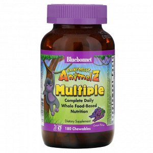 Bluebonnet Nutrition, Rainforest Animalz, мультивитамин на основе цельных продуктов, натуральный ароматизатор со вкусом винограда, 180 жевательных таблеток в форме животных