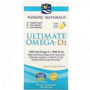 Nordic Naturals, Ultimate Омега-D3, со вкусом лимона, 1000 мг, 120 капсул