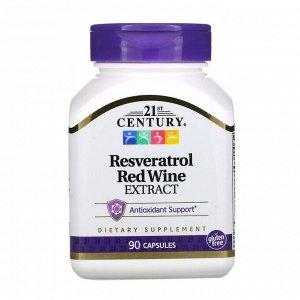 21st Century, Ресвератрол, экстракт плодов красного винного сорта винограда, 90 капсул