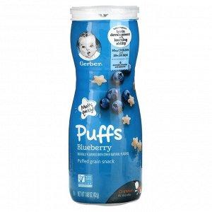 Gerber, Puffs, Puffed Grain Snack, 8+ Months, Blueberry, 1.48 oz (42 g)
