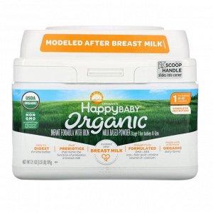 Happy Family Organics, Organics Happy Baby, детская смесь для младенцев с железом, этап 1, от рождения до 12 месяцев, 595 г (21 унция)