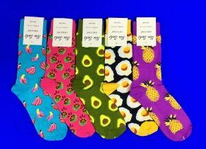 Nice Socks (AMIGOBS) ЦВЕТНЫЕ НОСКИ женские на вешалке арт.1203 (2208,2209)