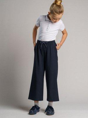 Брюки текстильные для девочек тёмно-синий