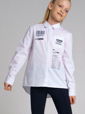 Блузка текстильная для девочек белый