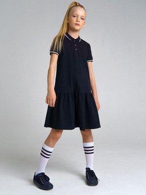 Платье трикотажное для девочек тёмно-синий