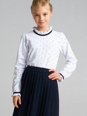 Фуфайка трикотажная для девочек (футболка с длинным рукавом) белый