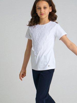 Фуфайка трикотажная для девочек (футболка) белый
