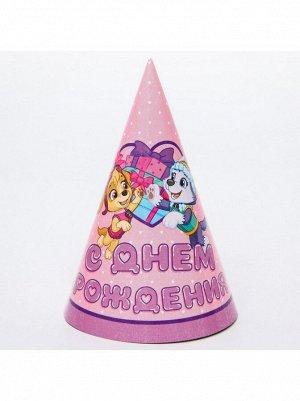Колпак бумага Скай и Эверест Щенячий патруль набор 10 шт С Днем рождения!