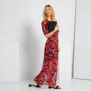 Длинное платье в цветочек - бежевый