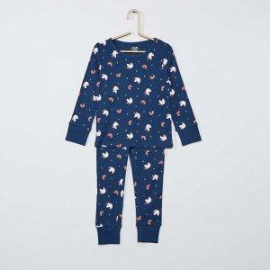 Длинный пижамный комплект из джерси Eco conception - голубой