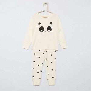 Длинный пижамный комплект из джерси Eco conception - черный