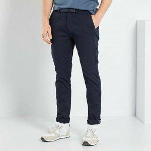 Узкие брюки-чинос с ремнем - голубой