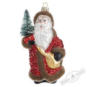Дед Мороз в красной шубе (стекло) 7,5х6,5х14 см