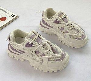 Женские кроссовки, с высокой подошвой, цвет фиолетовый/белый