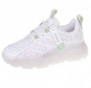 """Женские кроссовки, надпись """"L Rites Arsport"""", с зелеными вставками, цвет белый"""