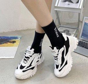 """Женские кроссовки, принт """"66"""", с серебряной вставкой, цвет белый/черный"""