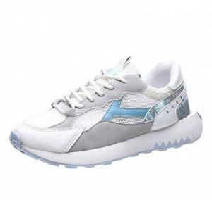 """Женские кроссовки, с принтом """"Буквы"""" на вставках, с необычной подошвой, цвет голубой/серый/белый"""