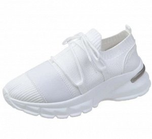 Женские мягкие кроссовки, на шнуровке, цвет белый