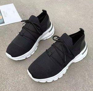 Женские мягкие кроссовки, на шнуровке, цвет черный