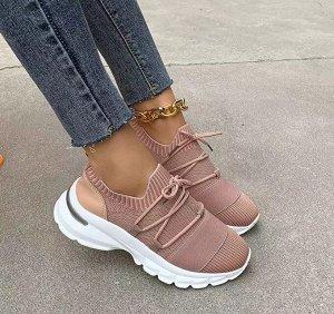 Женские мягкие кроссовки, на шнуровке, цвет розовый
