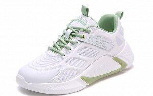 Женские кроссовки, с зеленой полосой на подошве, цвет белый