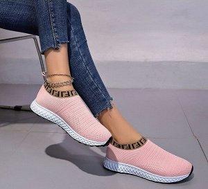 """Женские кроссовки, принт """"Иероглифы"""", цвет розовый"""
