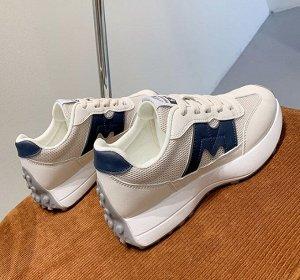 """Женские кроссовки, надпись """"New fashion 520"""", цвет белый/синий"""