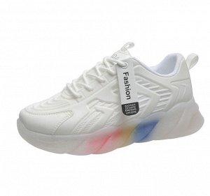 Женские  кроссовки, с градиентом на подошве, цвет белый
