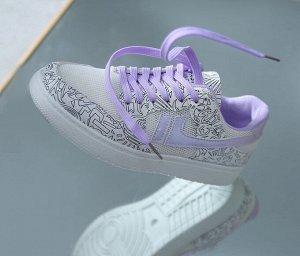"""Женские кроссовки, с сетчатыми вставками, принт """"Рисунки"""", цвет белый/фиолетовый"""