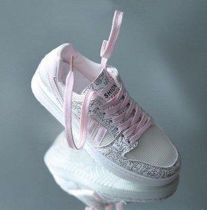 """Женские кроссовки, с сетчатыми вставками, принт """"Рисунки"""", цвет белый/розовый"""